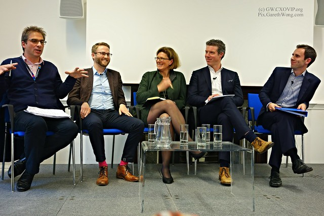 Smiling panel with Gerard Grech James Clark Sherry Coutu James Waterworth Eddie Copeland from RAW _DSC1700 @Policy_Exchange Audio #siliconcities event w/ @edvaizey @gerardgrech @scoutu @ronin_jim @karhubear