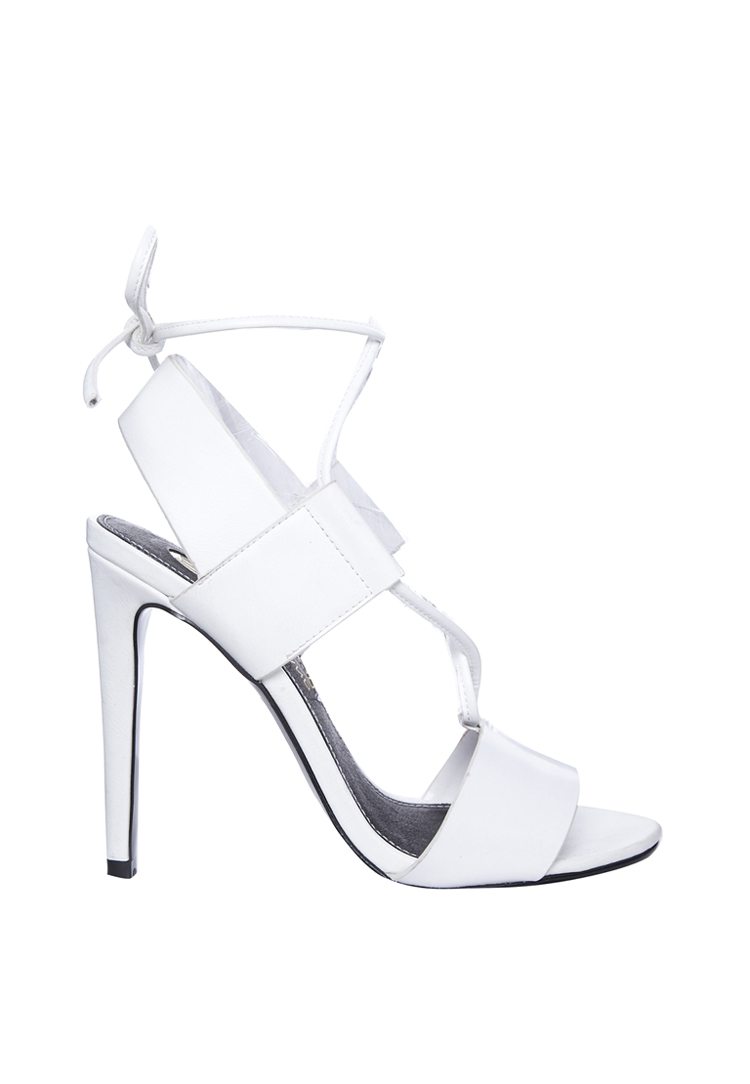 River Island Pang White Strappy Tie Up Peep Sandals