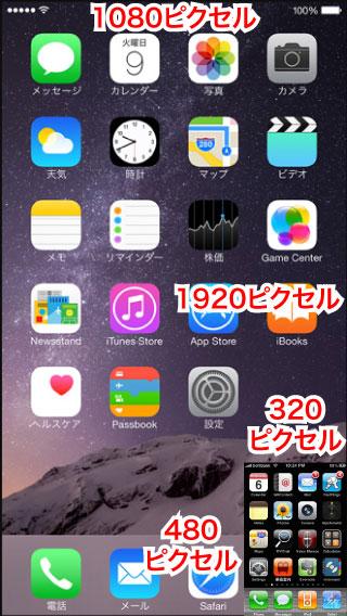 iPhoneのピクセル数比較