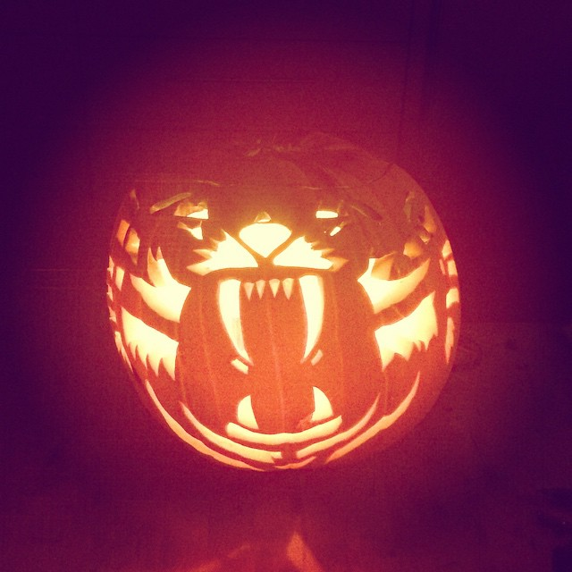 T carved me a tiger pumpkin after yesterday's epic zoo visit.