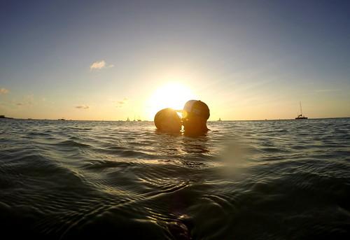 ocean sunset sun aruba caribbean