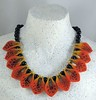 Needle Felted Necklace Orange Yellow Black
