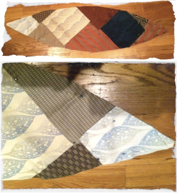 Laying out material to create quilted pattern for ottoman
