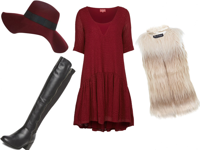Mallzee, Personal Shopping App, iPhone, iPad, iTunes, River Island, Burgundy Fedora, Ghost, John Lewis, Folk, '70s, Boho, Drop Hem, Drop Waist, Red Dress, Dorothy Perkins, Over-the-knee Boots, Miss Selfridge, Gilet, UK Style Blog, London Style Blogger, AW14, How to Wear, Outfit Ideas, Styling Inspiration, Sam Muses