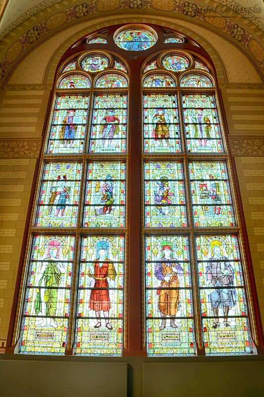 Stained glass window in the Gallery of Honour