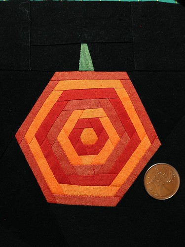"Hexy pumpkin 6 1/2"" block made with Oakshott Colourshotts for the VancouverMQG Halloween block exchange."