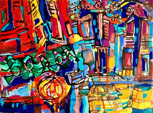 My wild crazy experimental painting of shophouses is complete.