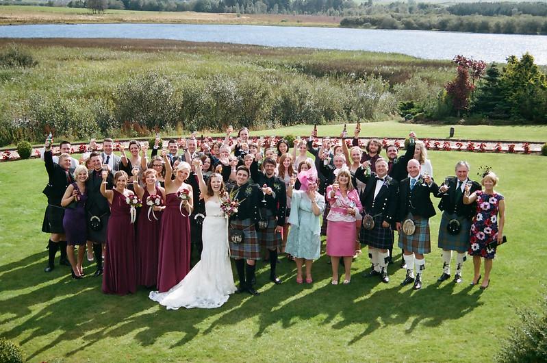 Group photo at this Scottish Harry Potter wedding on @offbeatbride