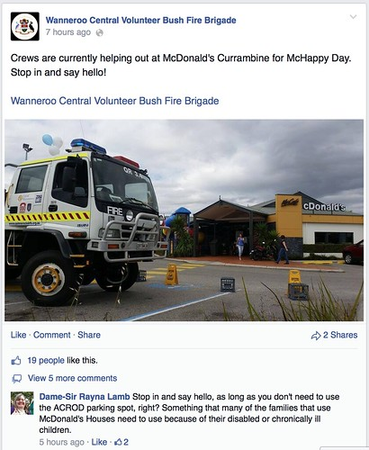 The photo from above in context on Facebook, with the 'crews are helping out' caption. One comment reads 'Stop in and say hello, as long as you don't need to use the ACROD parking spot, right? Something that many of the families that use McDonald's House need to use because of their disabled or chronically ill children.'