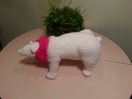 polar bear with bright pink cowl :)