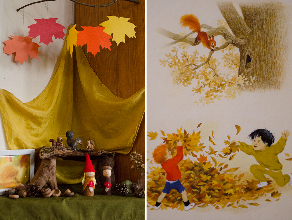 child nature table collage