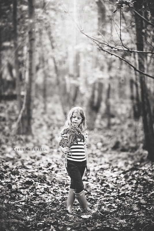 Emma in woods bw web