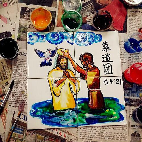 #神圣的任务 #TaskofHonour 26.10.2014 #Morning #Mass and #1stattempt #tiles #art #painting for #RCIA class. #artist #artistic #passion #catholic #tileart #artpainting #mark421 #jesus #iloveu