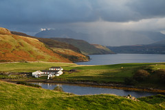 Gesto Farm & Cuillin range with storm, Isle of Skye