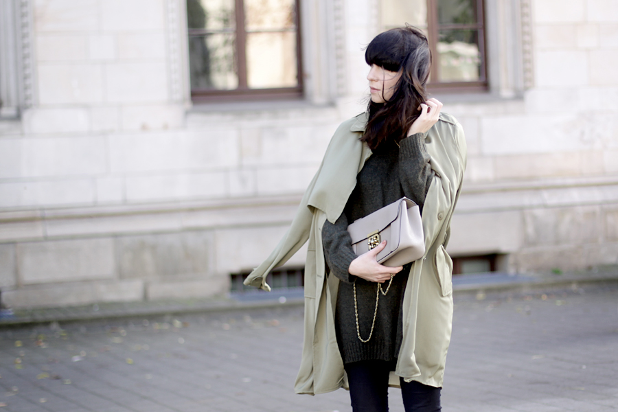 fashion pills green trench h&m green knit chloé elsie medium monnier frères bag outfit ootd autumn wind storm cats & dogs ricarda schernus fashion blogger germany 5