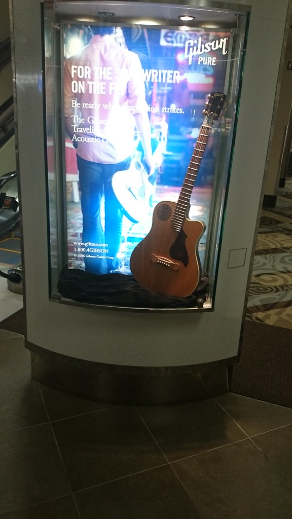 The major guitar brands know the airport in Nashville is a pretty good place to advertise. Cool displays.