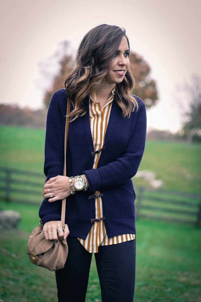 fall outfit. fall layers. virginia winery. knit sweater,. vertical stripe silk shirt. distressed black skinnies. va darling. 4