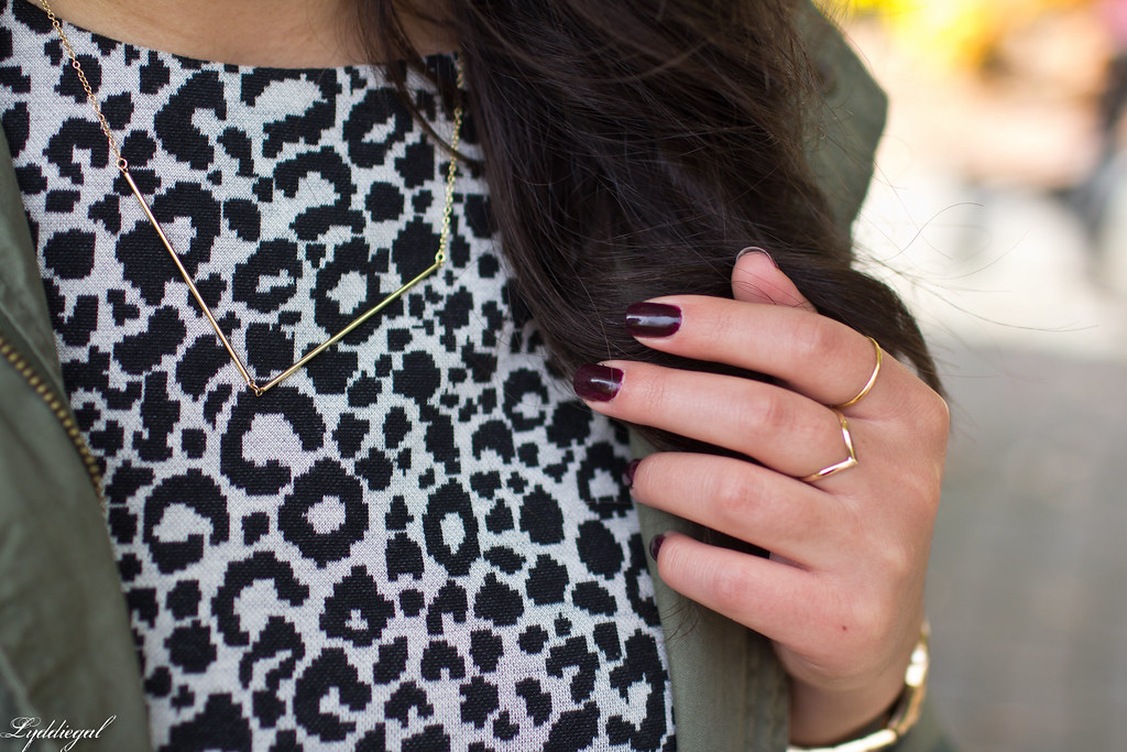 Leopard dress, gold v necklace.jpg