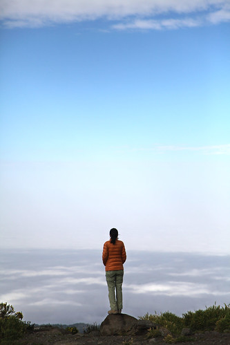 Pema takes in the clouds from above (Moshi, Tanzania)