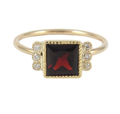 Square Garnet Deco Ring - Line_1