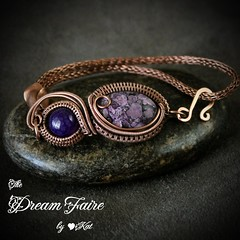 She Loves Purple - Gemstone and Copper Wire Bracelet