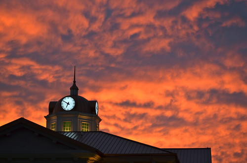 morning sky clouds sunrise cityhall clocktower redsky sugarhill