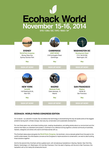 EcoHack 2014 — November 15-16, 2014 — SYD / CBG / DC / NYC / MAD / SF
