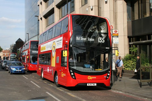 Docklands Buses EHV3 on Route 135, Aldgate