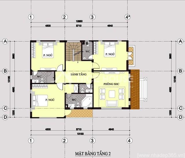 Thiết kế biệt thự 3 tầng 10x14m-tầng 2