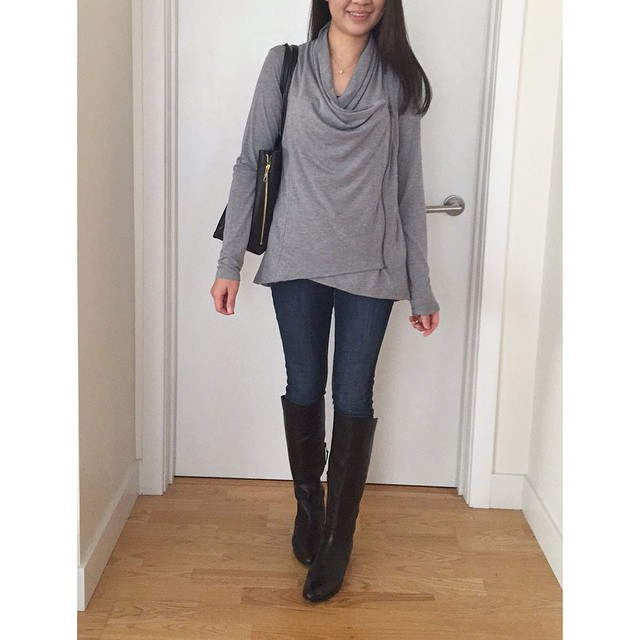#TGIF! @forever21 'Asymmetrically draped jacket' in size XS. The sleeves are a tad long but I plan on wear it mostly pushed up. Love the draping on this piece when zipped. I also decided to keep the #stuartweitzman Justmine boots I posted on @shopwhatjess