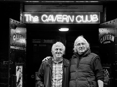 John Cross (The Copycats) and Harry Prytherch (The Remo Four) outside the Cavern Club, Liverpool