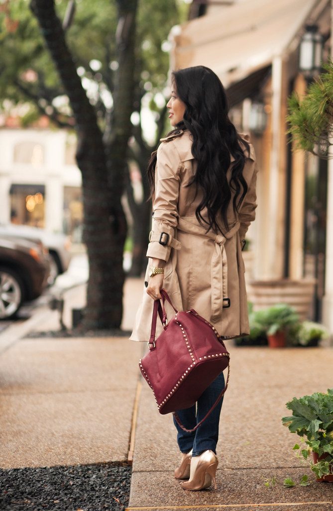 cute & little blog | petite fashion | chicwish double-breasted classic trench, loft white jeweled sweater, handbag heaven beth burgundy barrel studded satchel | fall outfit | maternity bump style pregnant | third trimester 28 weeks