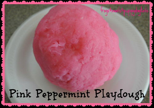 Pink Peppermint Playdough (Photo from Frogs and Snails and Puppy Dog Tails)