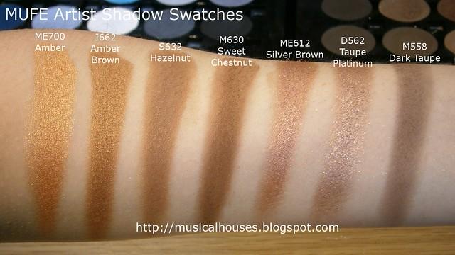 MUFE Artist Shadow Eyeshadow Swatches 2 Row 1
