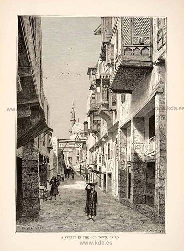 1892 Wood Engraving (Photoxylograph) Al Azhar Mosque Cairo Egypt Minaret