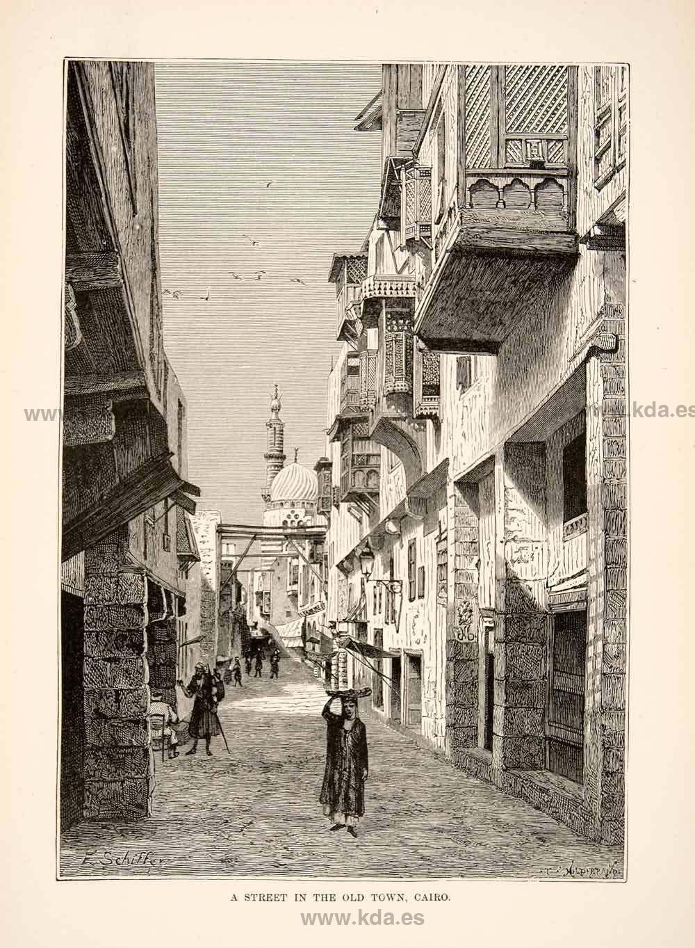 1892 Wood Engraving (Photoxylograph) Al Azhar Mosque Cairo Egypt Minaret
