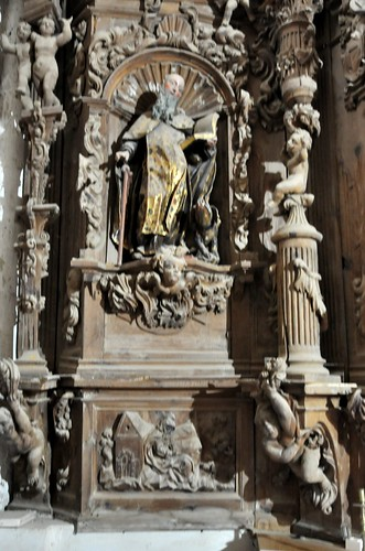 Arenillas de Riopisuerga (Burgos). Iglesia de Santa María. Retablo rococó de San José. San Antón