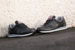 New Balance 574 Black Leather Trainers