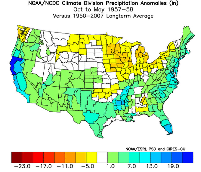 1957 Precipitation Anomalies