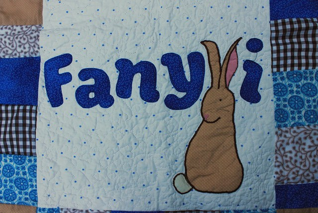 Bunny Baby Quilt  with Applique name