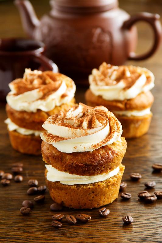 Cupcakes tiramisu with coffee syrup.