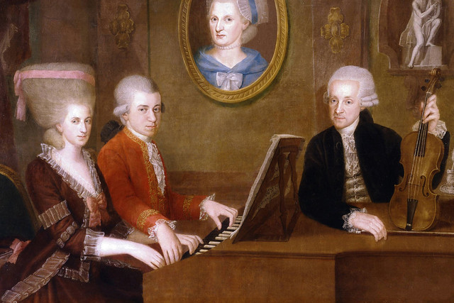 Wolfgang Amadeus Mozart with his sister Maria Anna and father Leopold, on the wall a portrait of his dead mother Anna Maria, by Johann Nepomuk della Croce. c. 1780