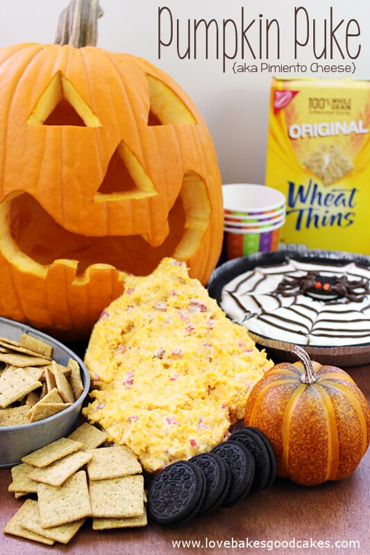 Halloween Snacks: Pumpkin Puke {aka Pimiento Cheese Dip} with Wheat Thins.