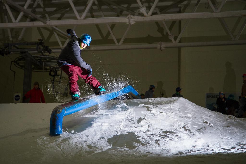 sam snowboarding rail braehead glasgow