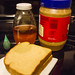 1. You need (chunky) Peanut butter, bread, honey and green food coloring