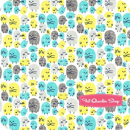 Cosmic Convoy Turquoise Little Visitors Yardage