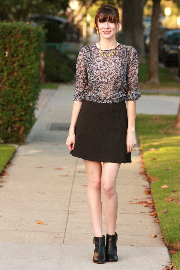 Silk Blouse, booties, flare mini skirt
