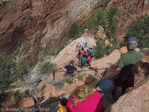 Climbing down Angel's Landing...like our hats?