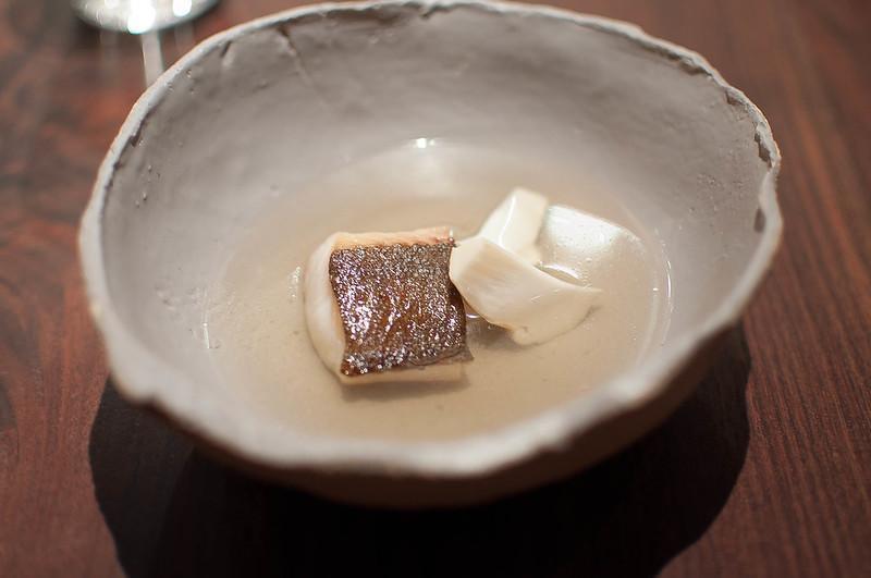 Black cod, pine mushroom, & bone bouillon