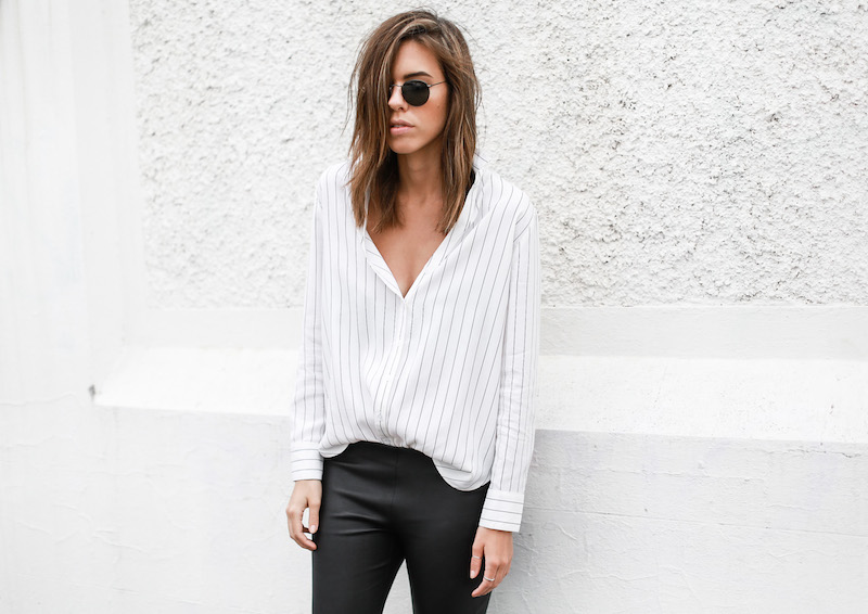 MODERN LEGACY fashion blog pinstripe shirt leather leggings Helmut Lang oxfords Alexander Wang bag black and white street style (3 of 6)